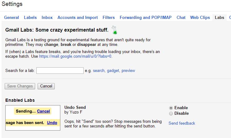 undo email lab